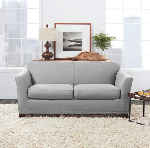 Ultimate Heavyweight Stretch Leather Three Piece Loveseat Slipcover Surefit