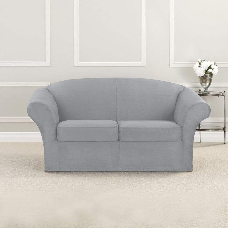 Fantastic Ultimate Stretch Suede Four Piece Sofa Slipcover Form Fitting Individual Cushion Covers Machine Washable Short Links Chair Design For Home Short Linksinfo