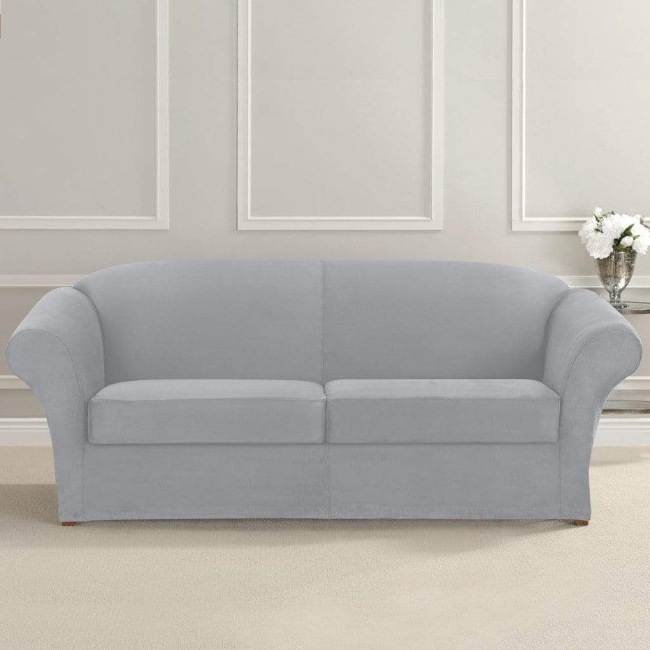 Ultimate Stretch Suede Three Piece Sofa Slipcover | Form Fit | Individual  Cushion Covers | Machine Washable