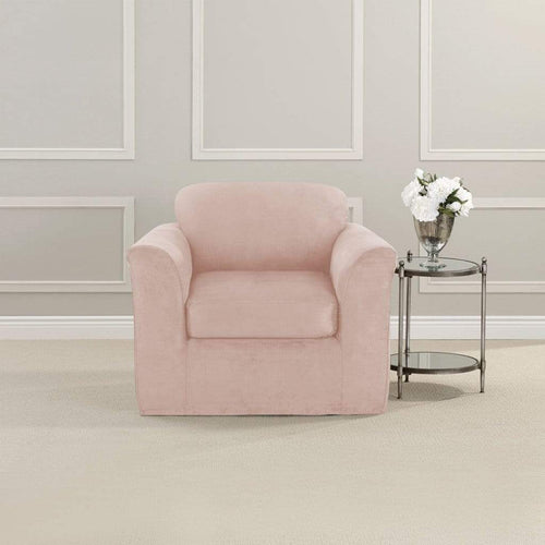 Ultimate Stretch Suede Two Piece Chair Slipcover