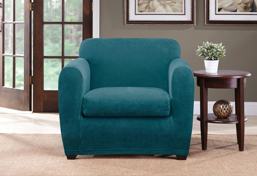 Ultimate Stretch Chenille Two Piece Chair Slipcover