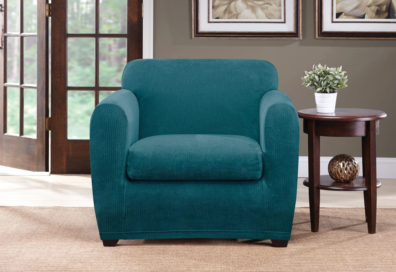 Superbe Ultimate Stretch Chenille Two Piece Chair Slipcover | SureFit