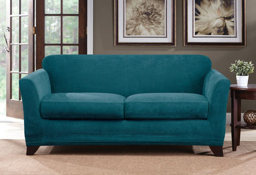 Ultimate Stretch Chenille Three Piece Loveseat Slipcover