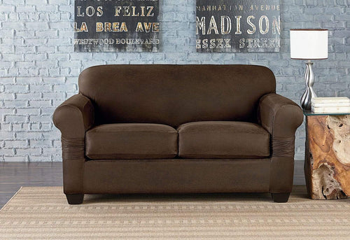 Vintage Leather Three Piece Loveseat Slipcover