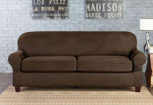 Vintage Leather Three Piece Sofa Slipcover
