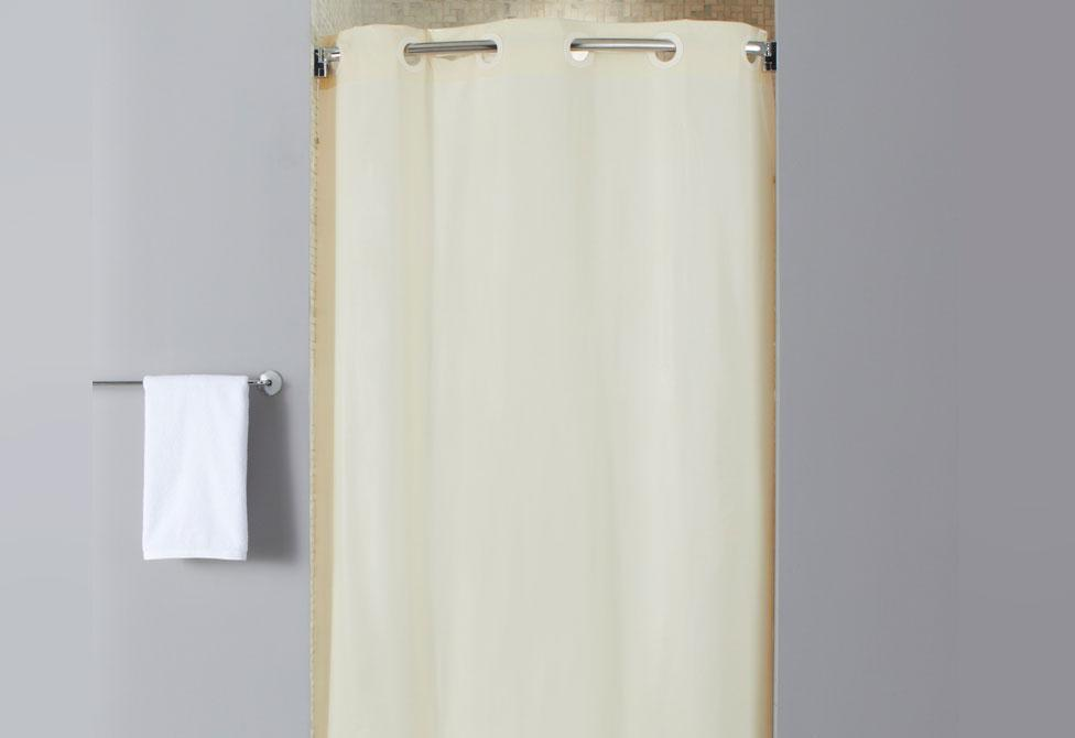 Stall Size Vinyl Hookless Shower Curtain