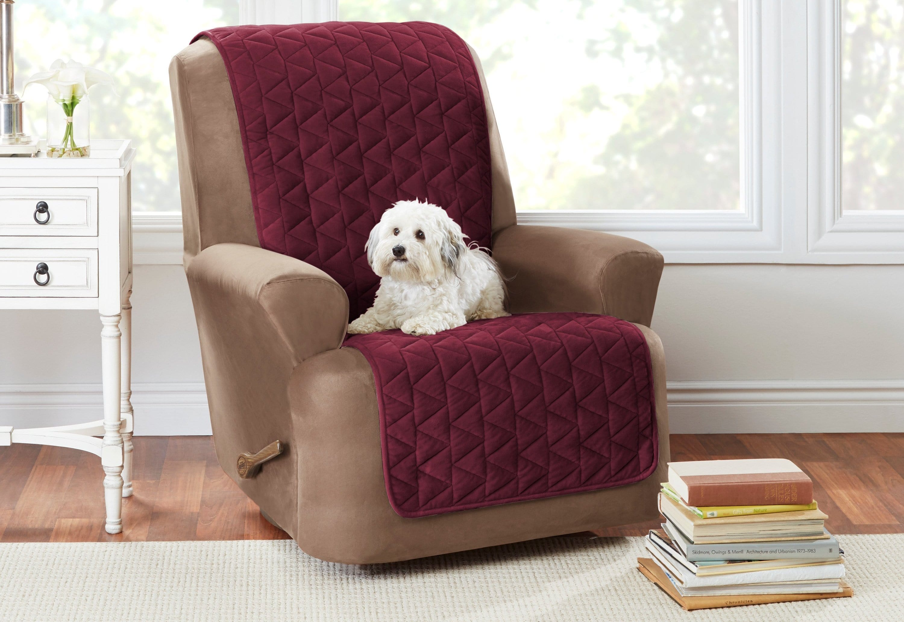 Armless Recliner Furniture Cover Pet Furniture Cover 100% Polyester Machine Washable - Recliner / Burgundy