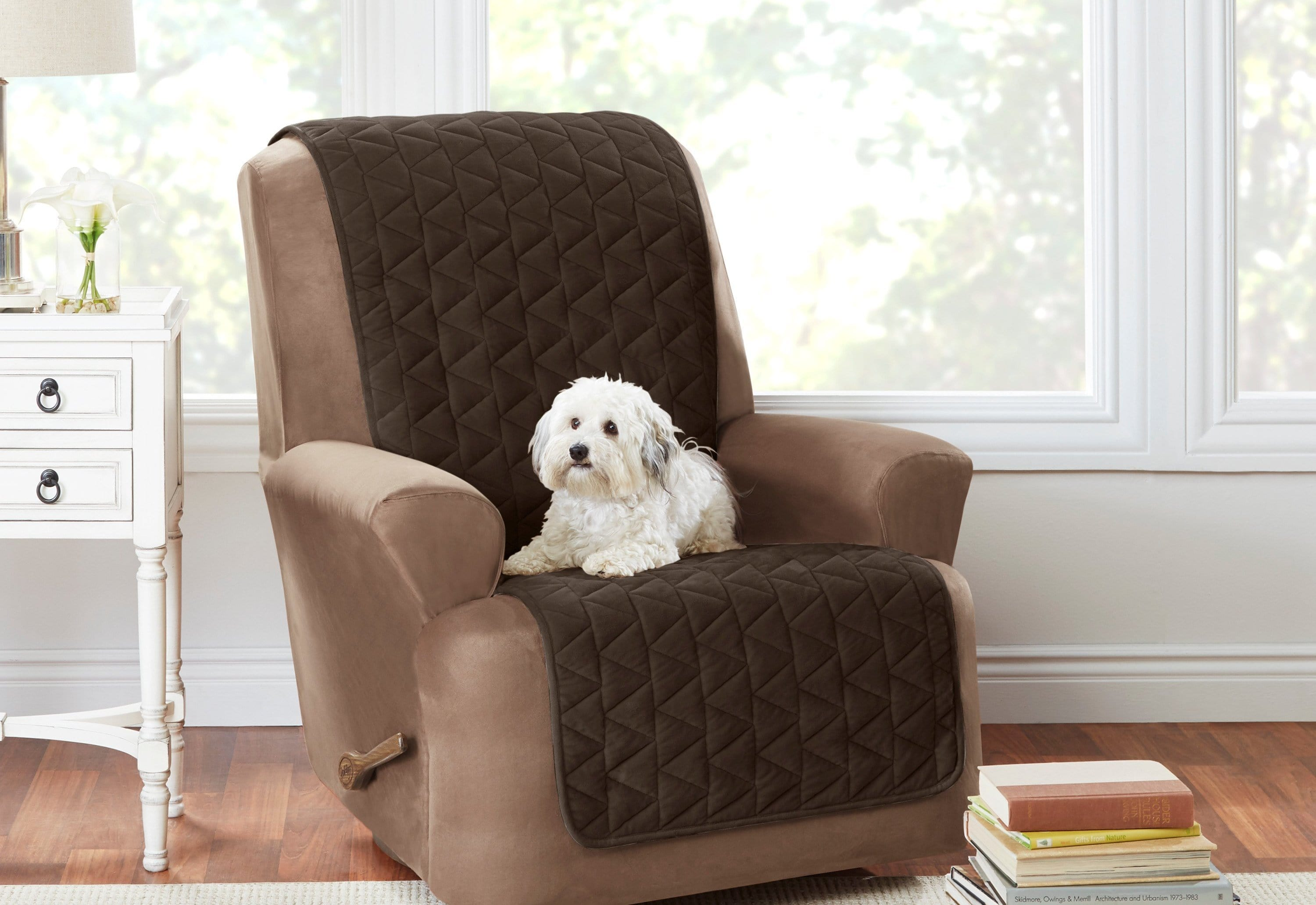 Armless Recliner Furniture Cover Pet Furniture Cover 100% Polyester Machine Washable - Recliner / Chocolate