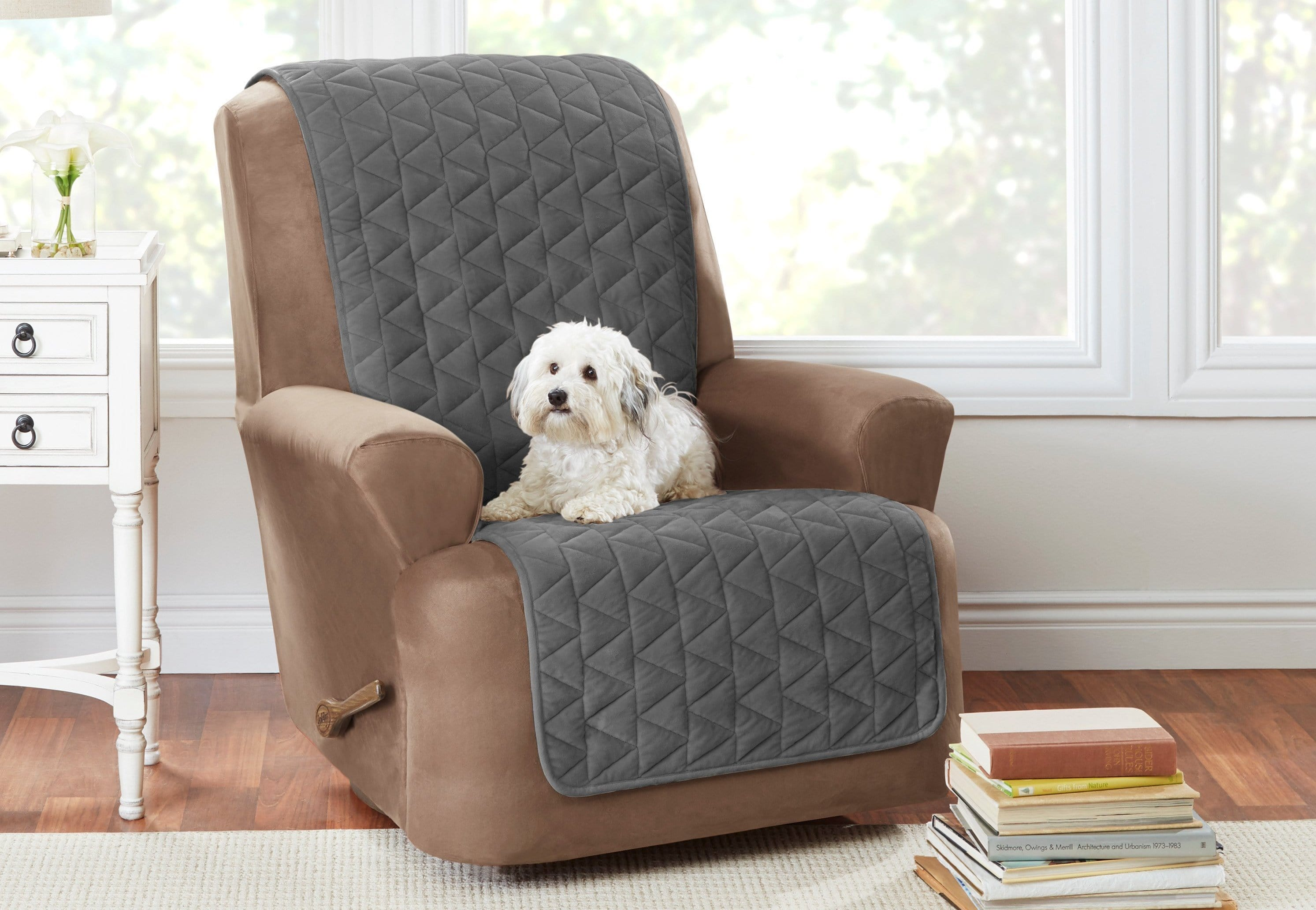Armless Recliner Furniture Cover Pet Furniture Cover 100% Polyester Machine Washable - Recliner / Dark Gray