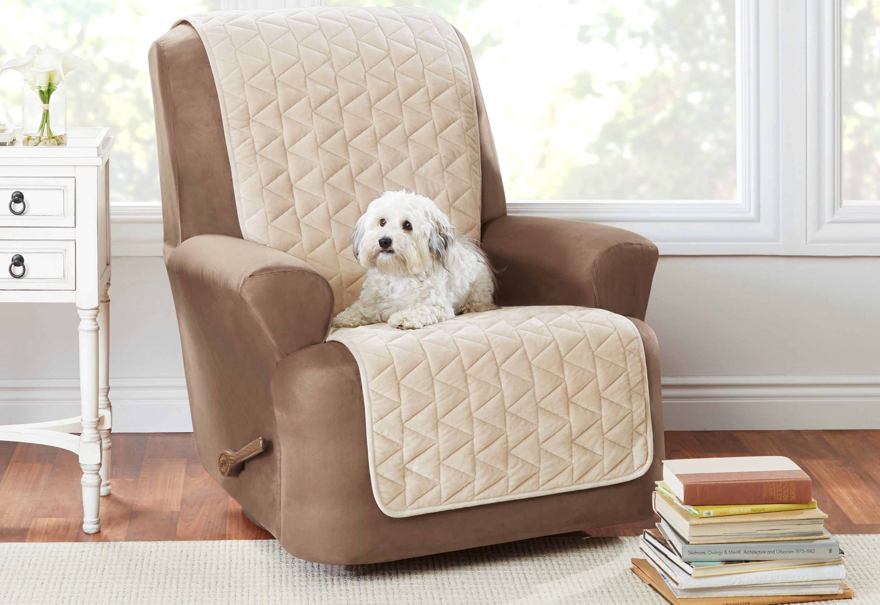 Armless Recliner Furniture Cover Pet Furniture Cover 100% Polyester Machine Washable - Recliner / Taupe