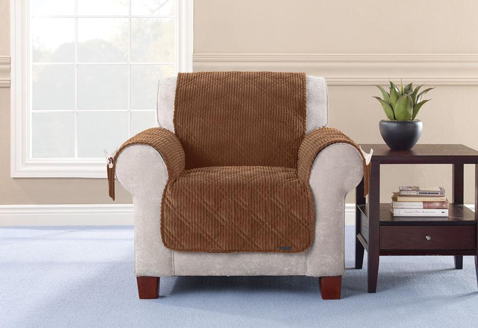 Wide Wale Corduroy Chair Furniture Cover Pet Furniture Cover Machine Washable - Chair / Brown