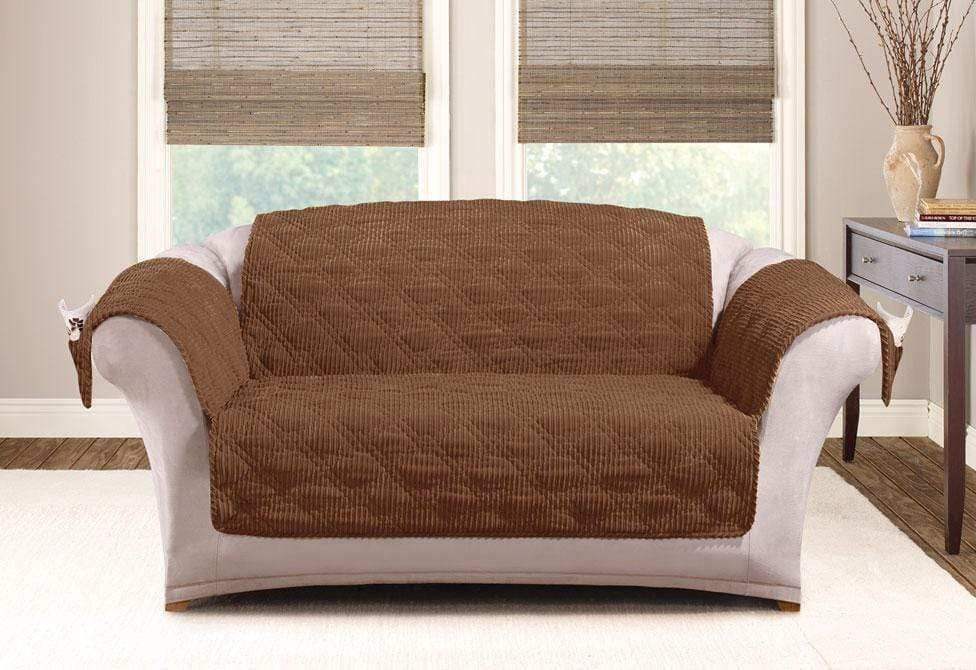 Wide Wale Corduroy Loveseat Furniture Cover Pet Furniture Cover Machine Washable - Loveseat / Brown