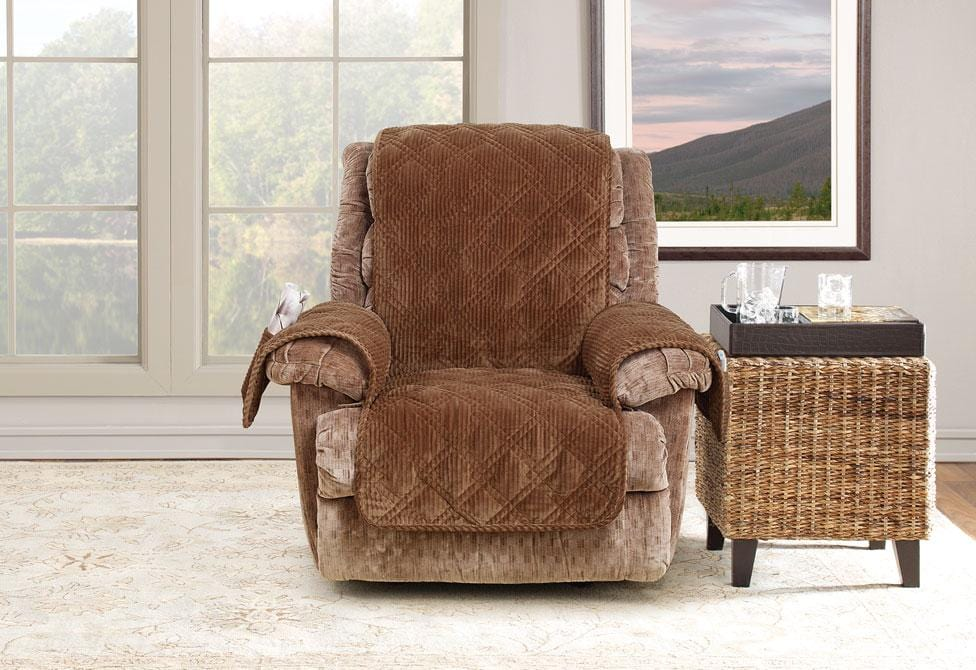 Wide Wale Corduroy Recliner Furniture Cover Pet Furniture Cover Machine Washable - Recliner / Brown