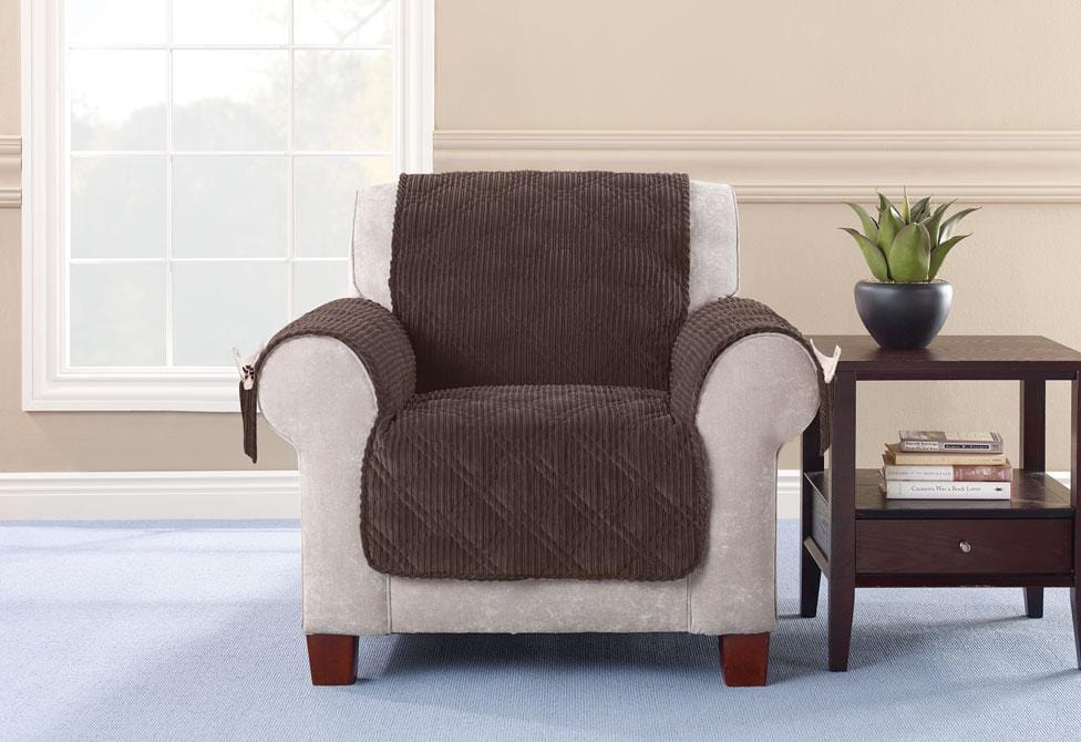 Wide Wale Corduroy Chair Furniture Cover Pet Furniture Cover Machine Washable - Chair / Camel