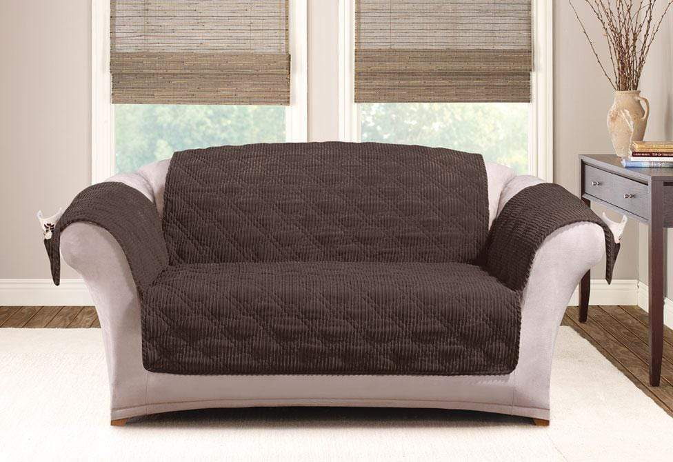 Wide Wale Corduroy Loveseat Furniture Cover Pet Furniture Cover Machine Washable - Loveseat / Chocolate