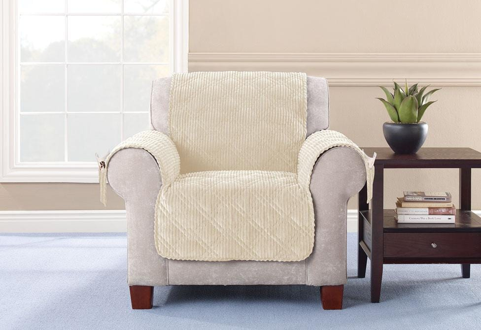 Wide Wale Corduroy Chair Furniture Cover Pet Furniture Cover Machine Washable - Chair / Cream