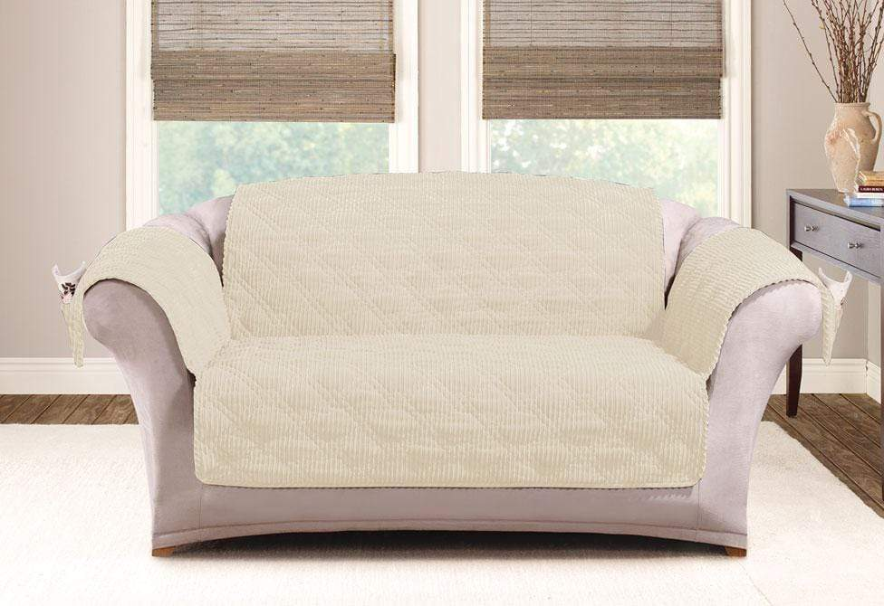 Wide Wale Corduroy Loveseat Furniture Cover Pet Furniture Cover Machine Washable - Loveseat / Cream