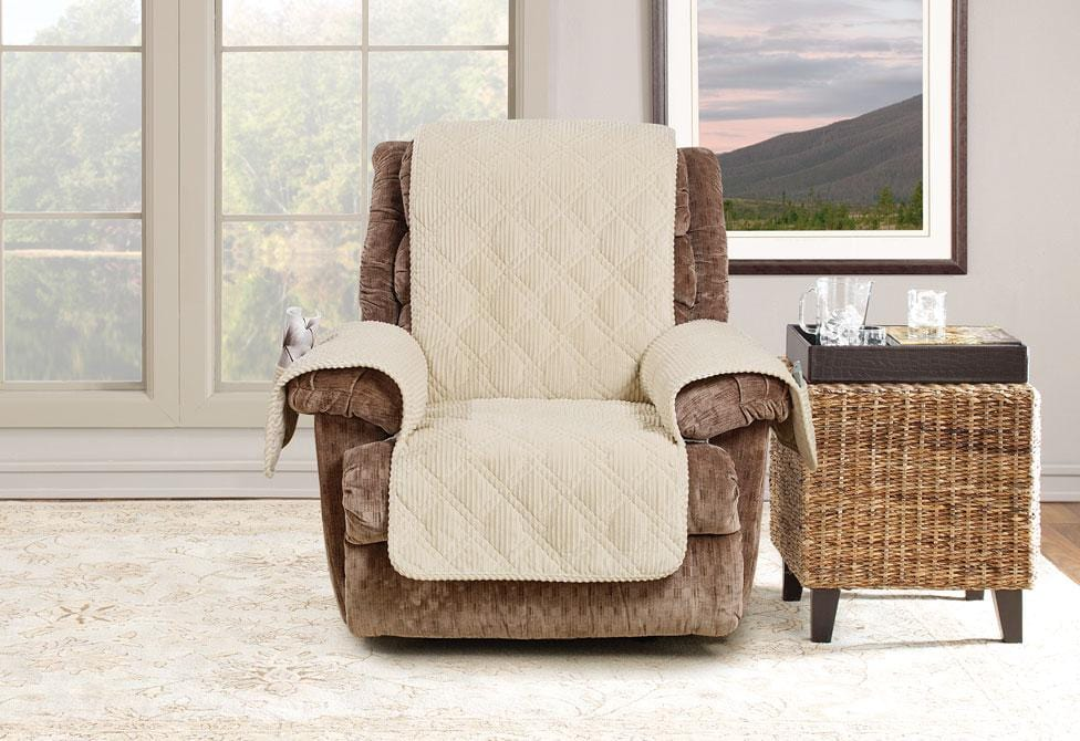 Wide Wale Corduroy Recliner Furniture Cover Pet Furniture Cover Machine Washable - Recliner / Cream