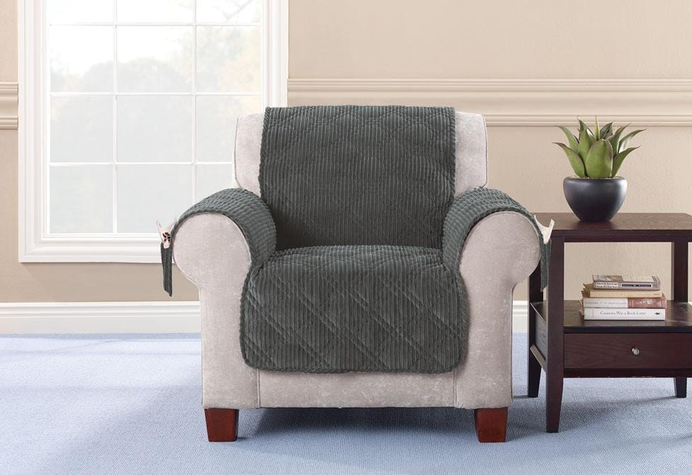 Wide Wale Corduroy Chair Furniture Cover Pet Furniture Cover Machine Washable - Chair / Graphite