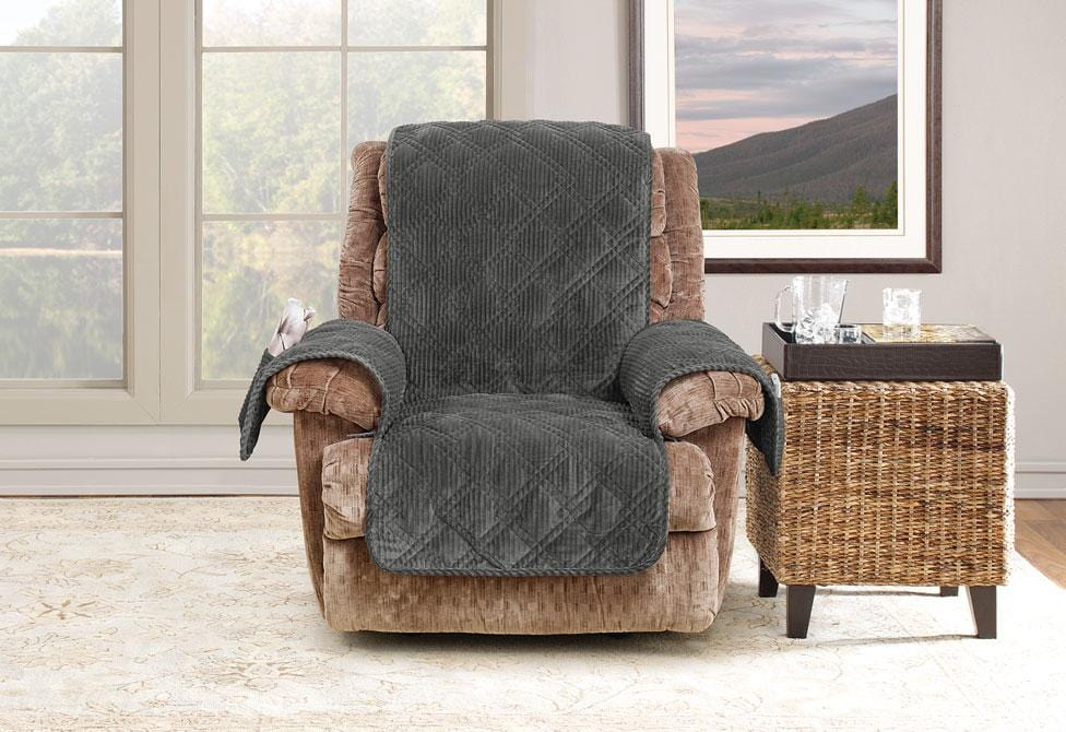 Wide Wale Corduroy Recliner Furniture Cover Pet Furniture Cover Machine Washable - Recliner / Graphite