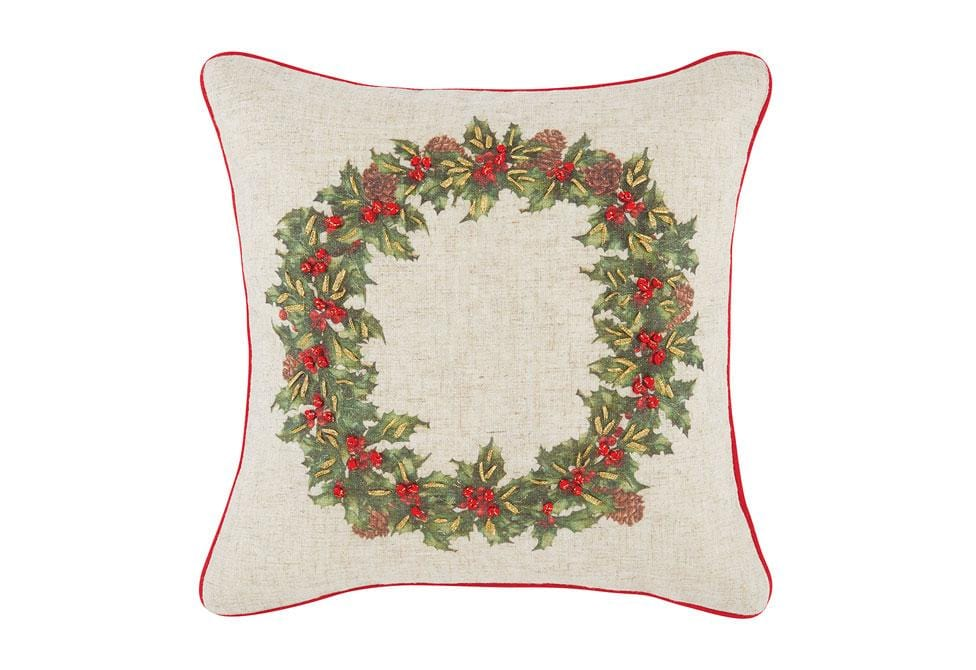 Wreath 16 Inch Square Decorative Pillow