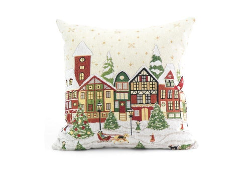Xmas On Main 18 Inch Square Decorative Pillow