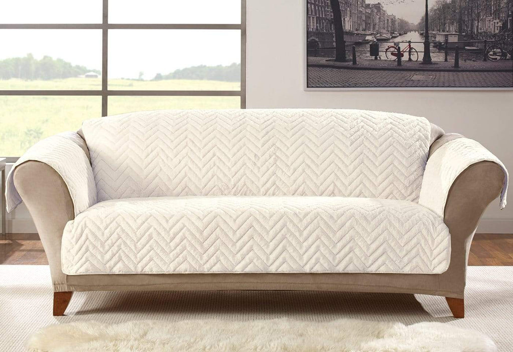 Faux Fur Chevron Sofa Furniture Cover Surefit