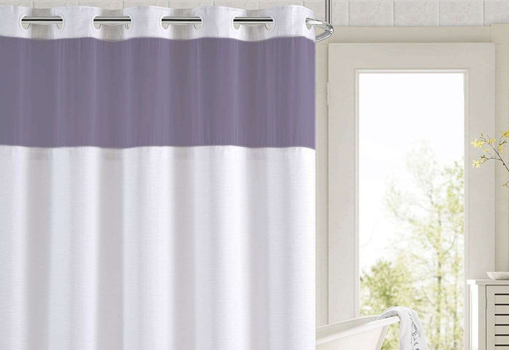 Hookless® Color Block Shower Curtain - 71 x 74 / Lavender