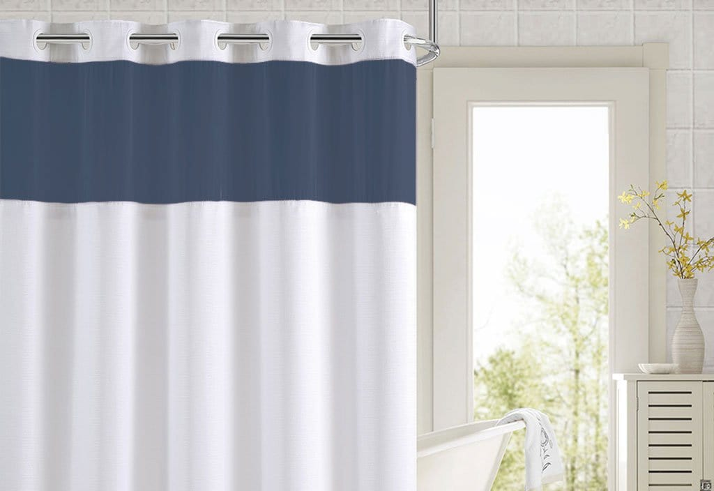 Hookless® Color Block Shower Curtain - 71 x 74 / Navy