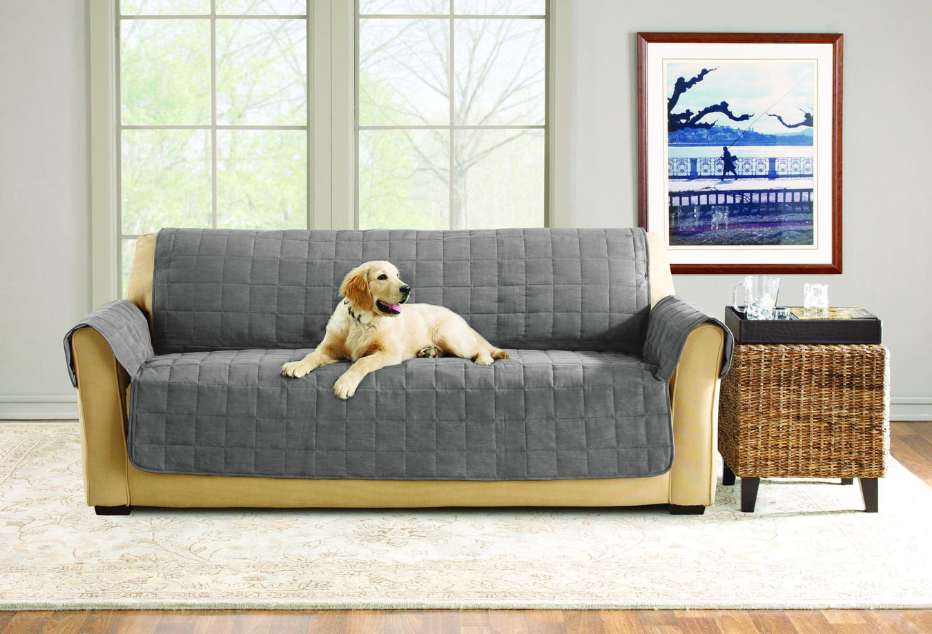 Comfort Memory Foam with Paw Prints Sofa Furniture Cover | One Piece | Pet Furniture Cover