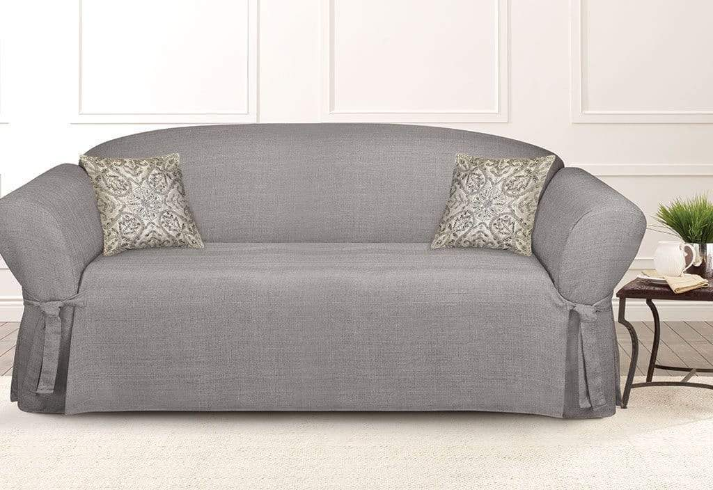 Mason One Piece Straight Skirt with Ties Loveseat Slipcover