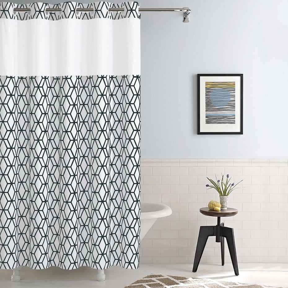 Prism Hookless Shower Curtain Black