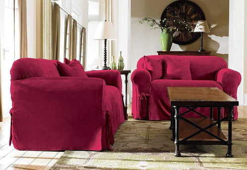 Soft Suede One Piece Loveseat Slipcover