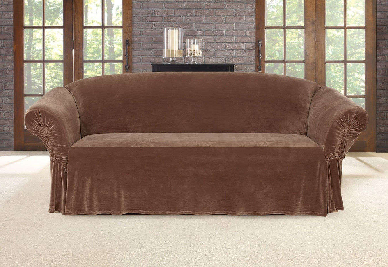 Stretch Plush Cinched Arm One Piece Sofa Slipcover