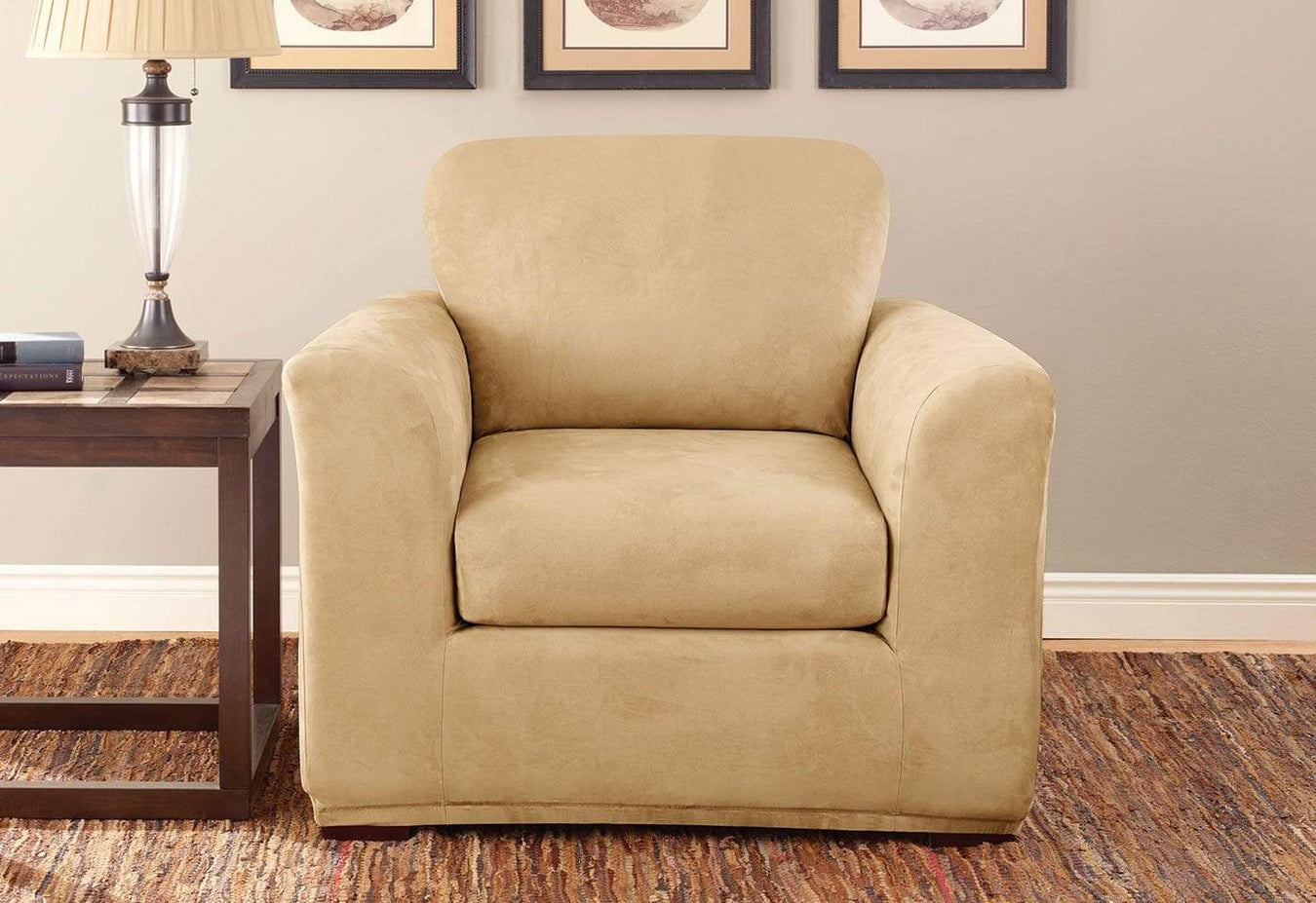 Stretch Suede Three Piece With Back Cushion Chair Slipcover