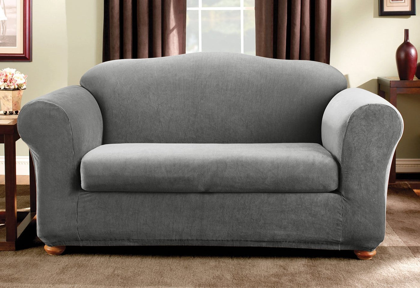 Astounding Stretch Madison Stripe Two Piece Loveseat Slipcover Surefit Ocoug Best Dining Table And Chair Ideas Images Ocougorg