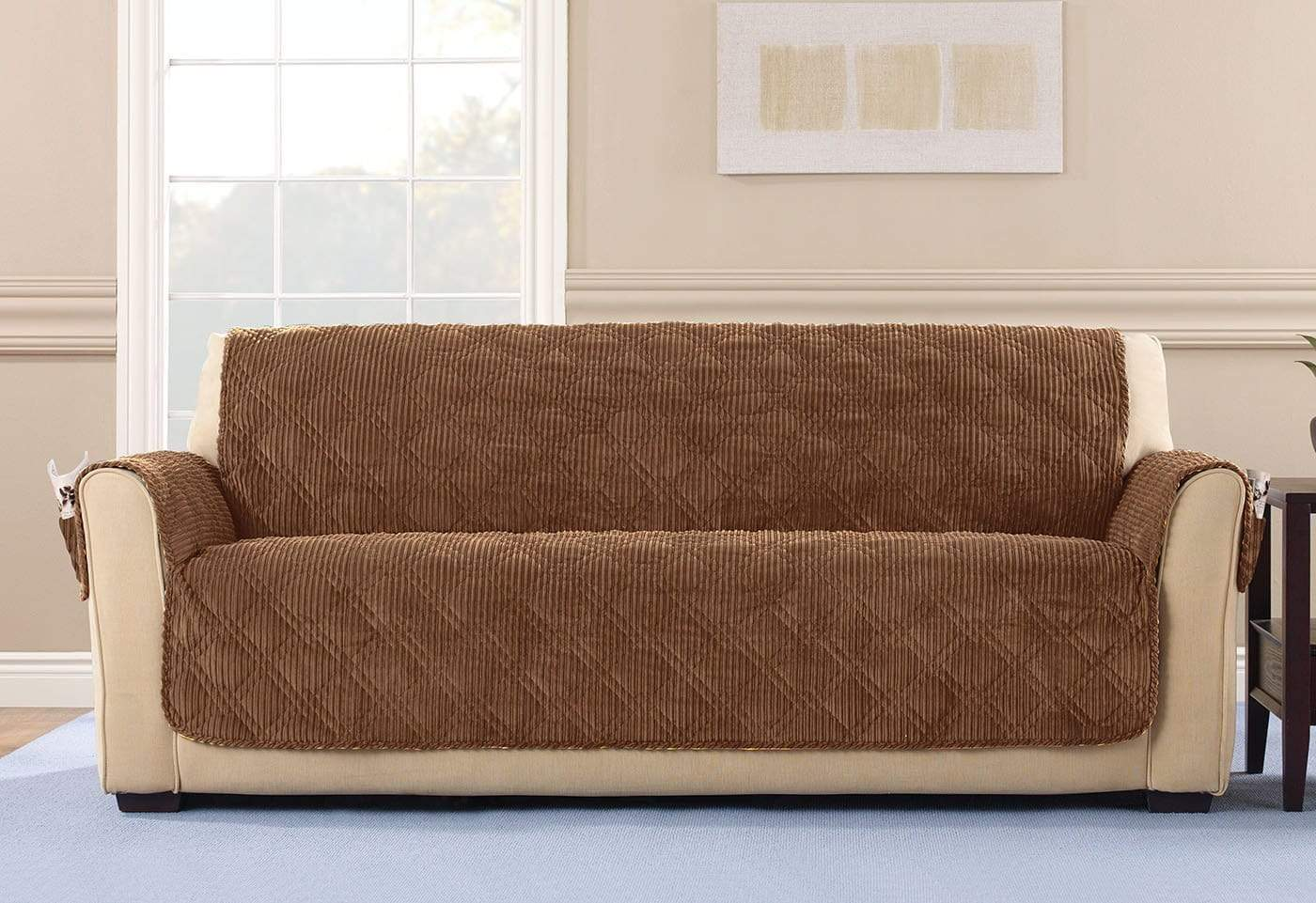 Wide Wale Corduroy Sofa Furniture Cover Pet Furniture Cover Machine Washable - Sofa / Brown