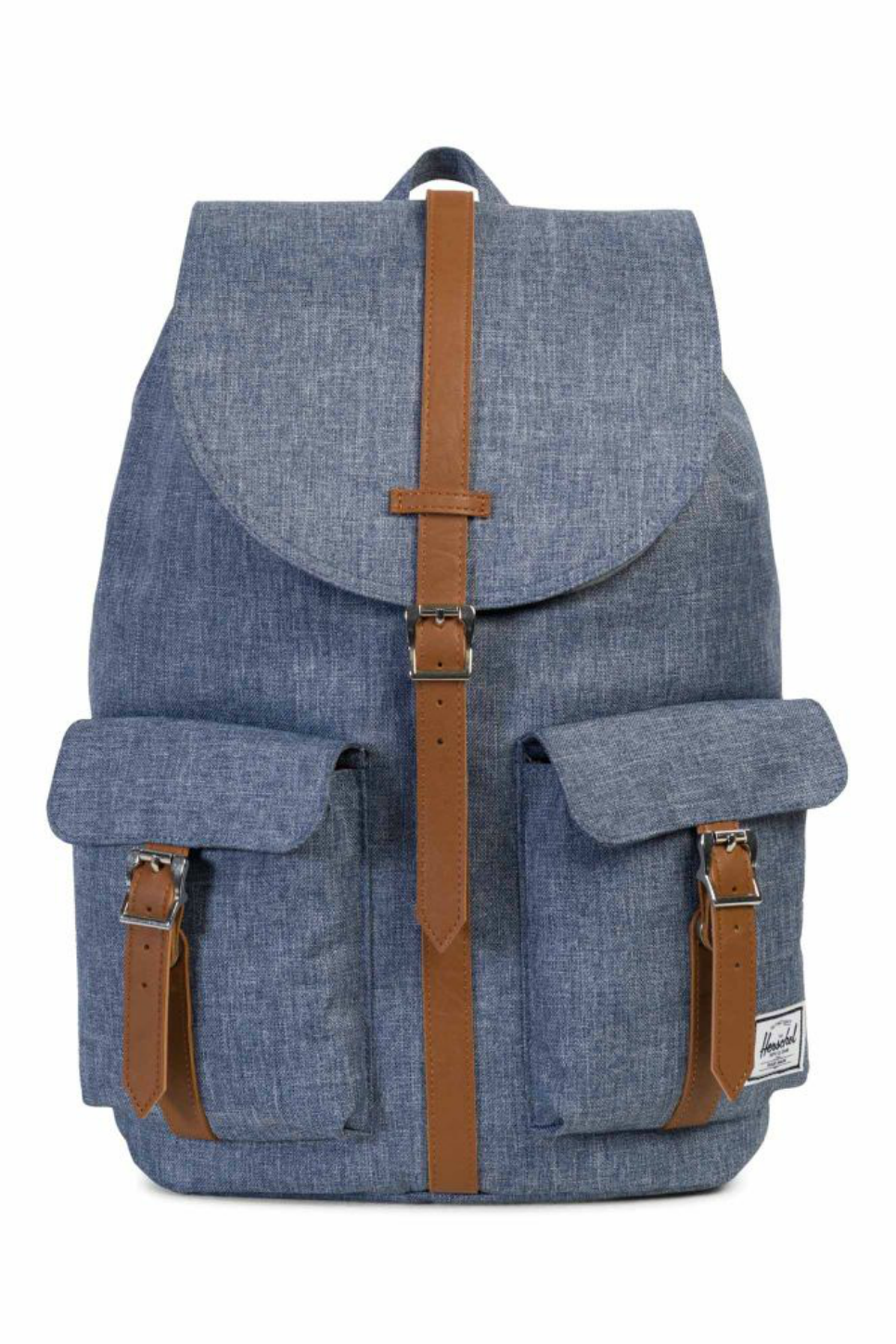 Herschel - Dawson Backpack - Dark Chambray Crosshatch/Tan - Front