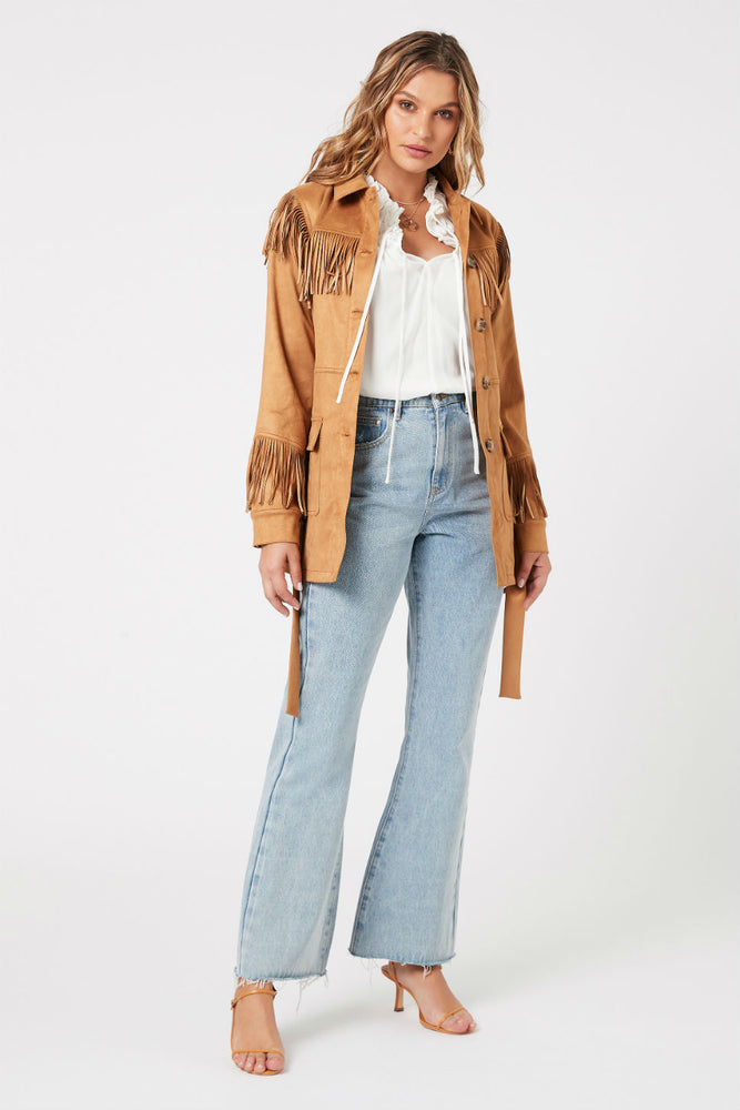 MinkPink - We Are Free Fringe Jacket - Tan - Front