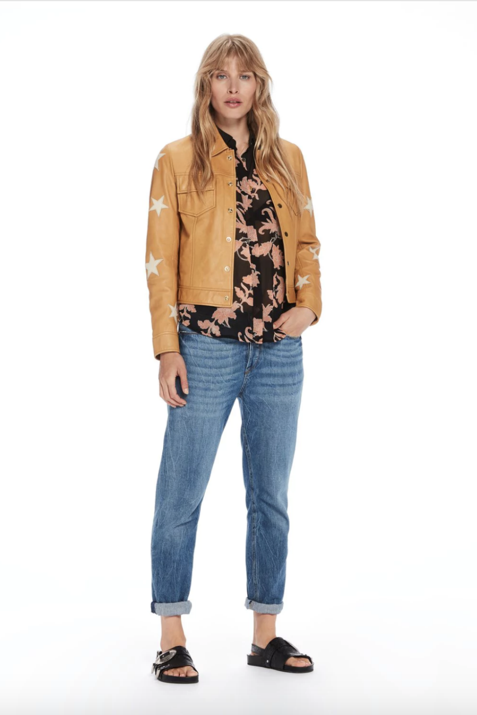 Scotch and Soda - Embroidered Leather Shirt Jacket - Sahara - Front