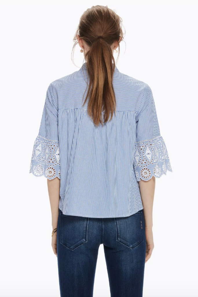 Scotch and Soda - Embroidered Sleeve Button Up - Blue Stripe - Back