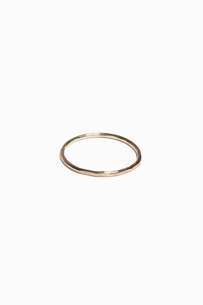 Able - Hammered Stacking Thin Ring - Gold
