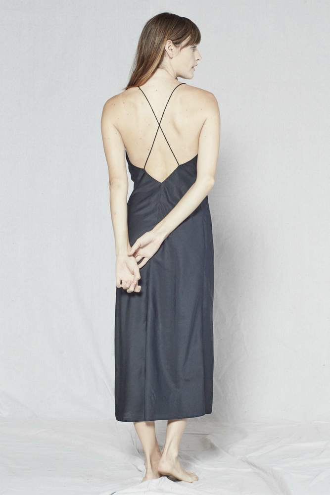 Outerknown - Aura Slip Dress - Pitch Black - Back