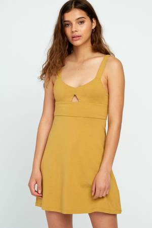 RVCA - All Talk Dress - Camel - Front