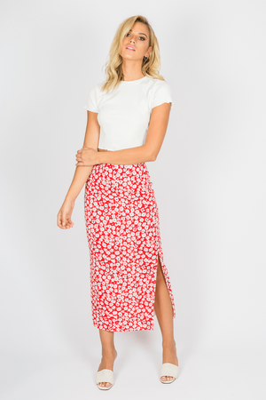 Toby Heart Ginger - Daisy Midi Skirt - Red Floral - Front
