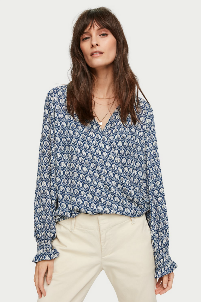 Scotch & Soda - Wrap Over LS Top - Blue - Front