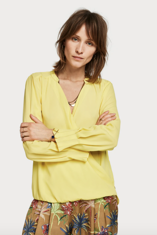 Scotch and Soda - Crossover V Neck Top - Citrus - Front