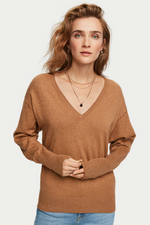 COTTON CASHMERE V NECK KNIT