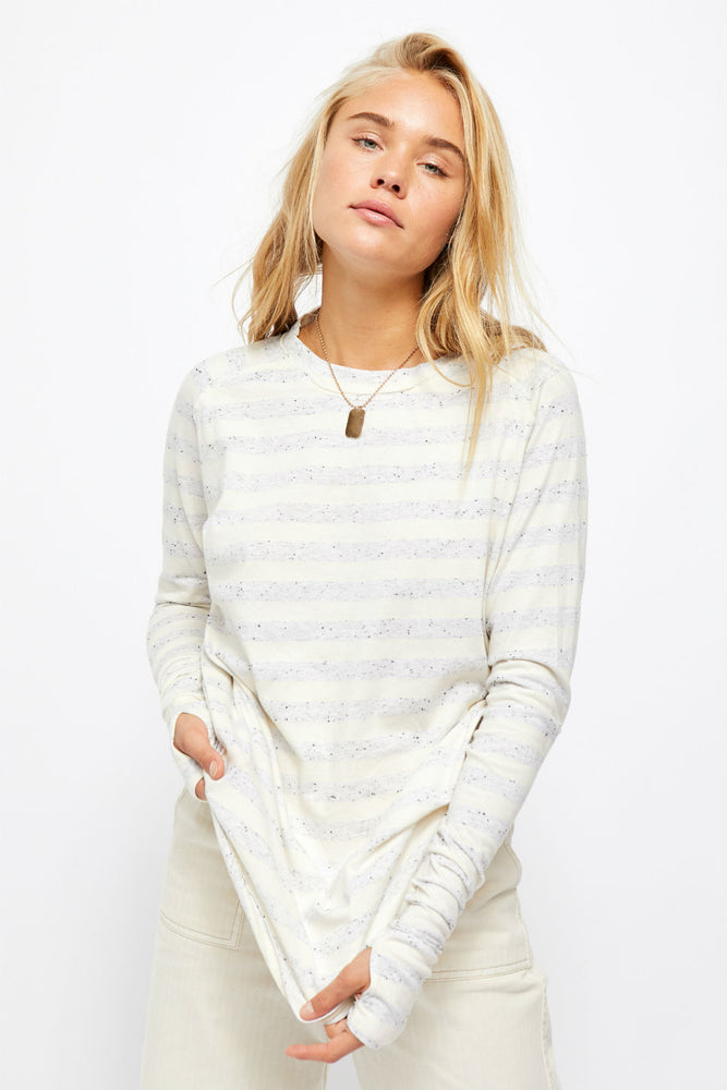 Free People - Arden Stripe Tee - Ivory Combo - Front