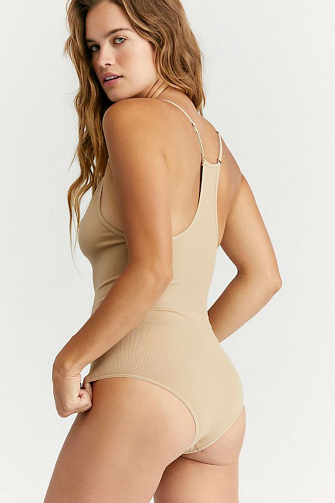 Free People - Move Along Bodysuit - Nude - Back